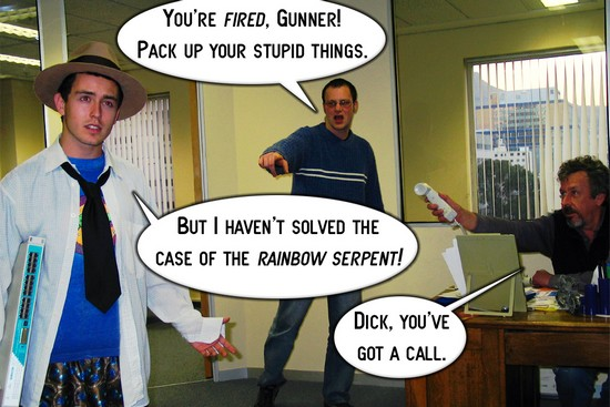 Dick Gunner and the Case of the Rainbow Serpent by Tom McNally Panel 3